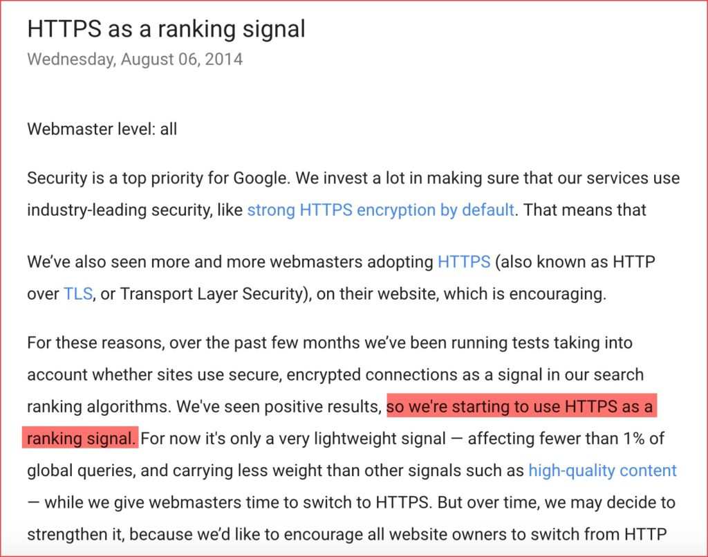 HTTPS as ranking signal