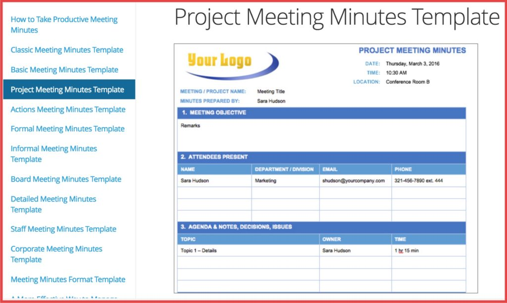 Minute meeting template by Smartsheet