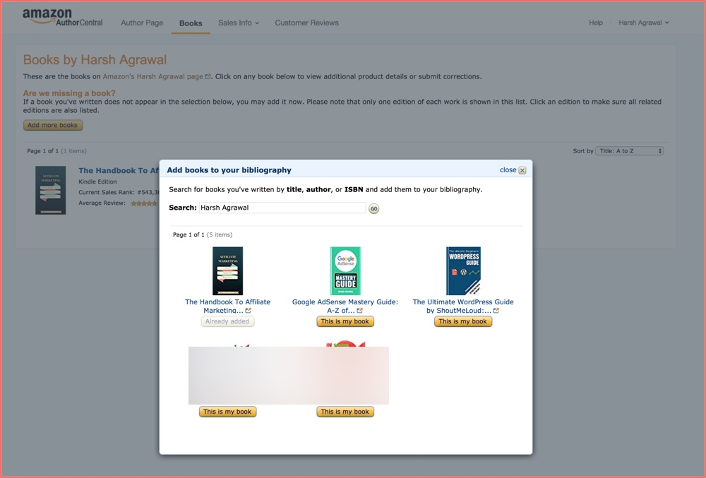 Add books to Amazon Author page