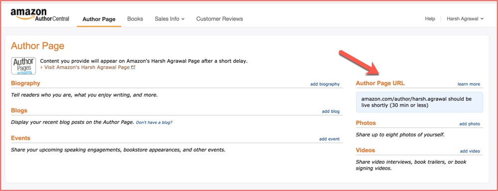 Customise Amazon author central profile
