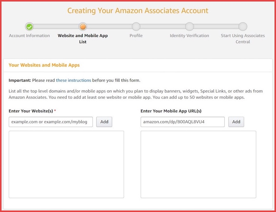Create Amazon associates account