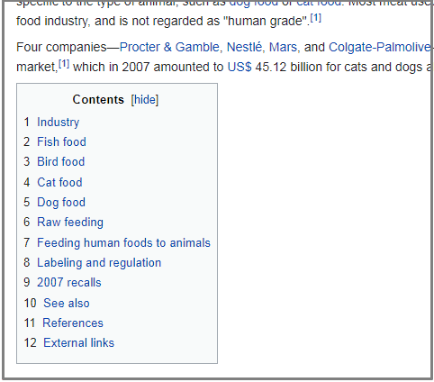 Wikipedia contents