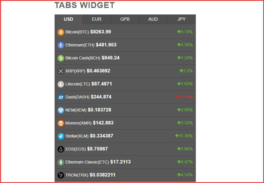 cryptocurrency exchange widget