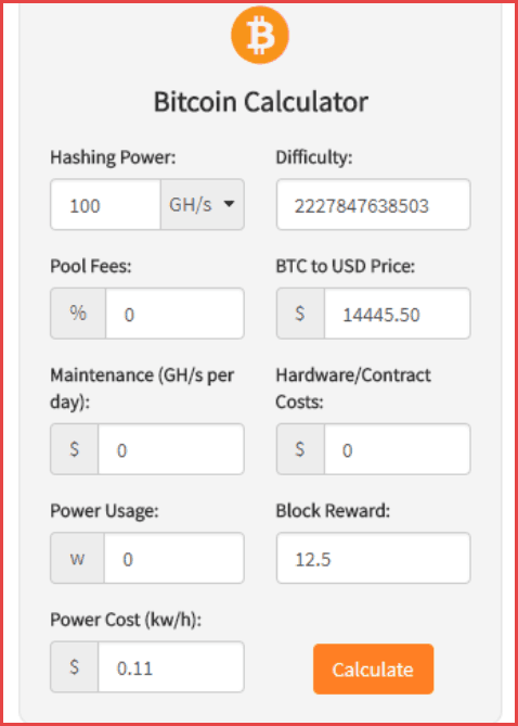 Cryptocurrency Mining Calculator Widgets