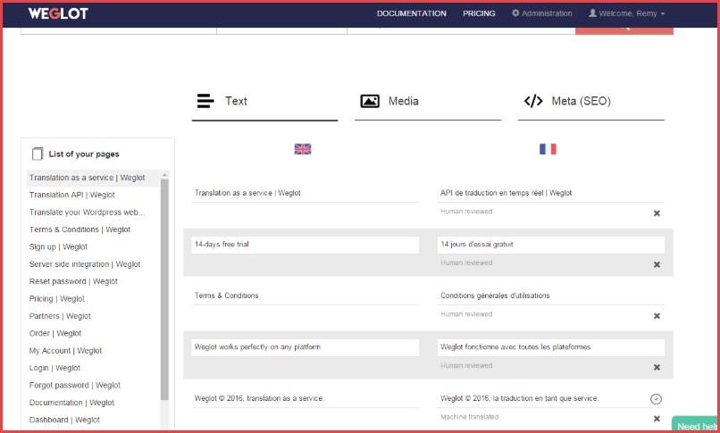 Weglot interface