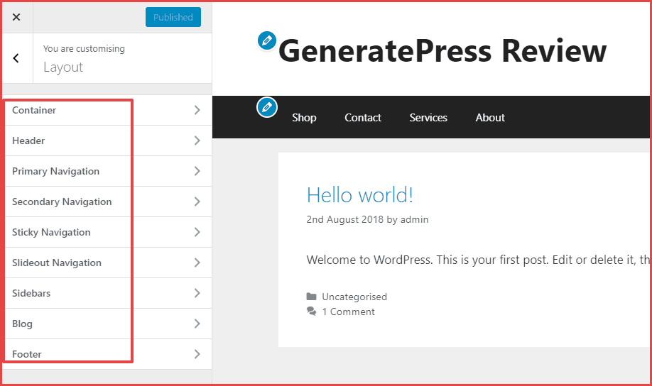 generatepress customizer settings