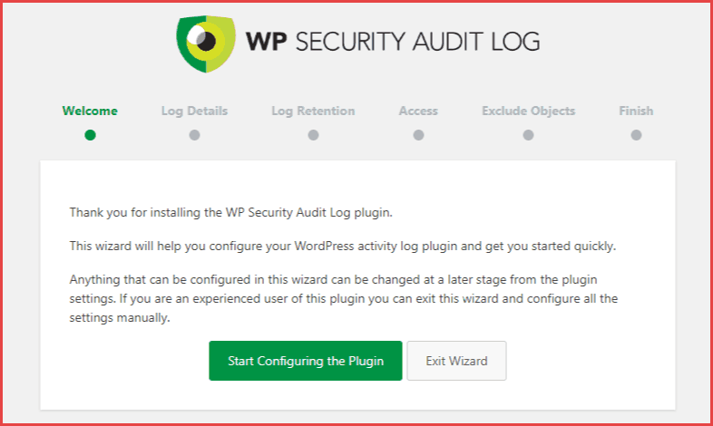 wp security audit log setup wizard