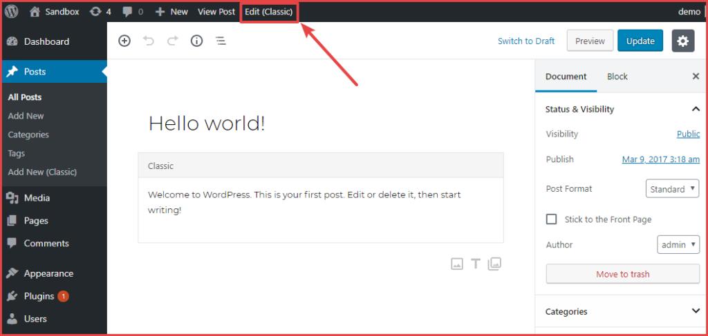 classic editor toolbar option
