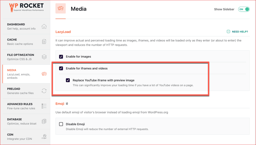 WP Rocket Media Settings