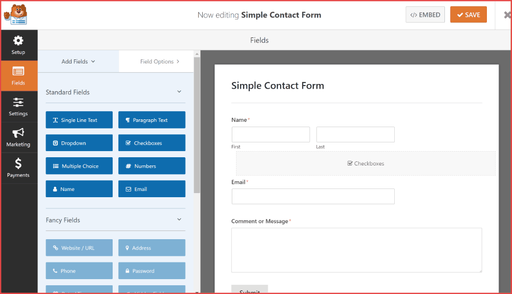 WP Forms builder