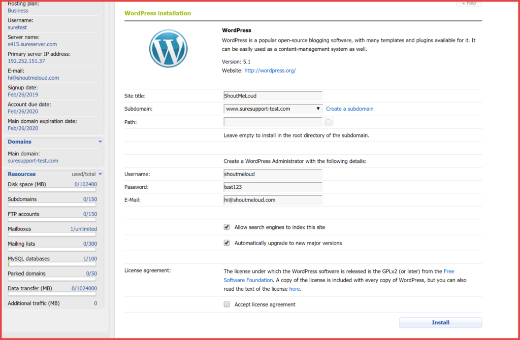 ICDSoft review of WordPress installer