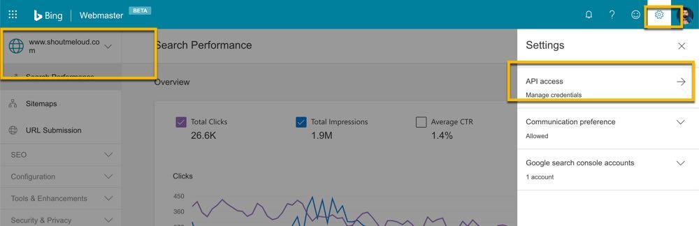 Bing webmaster API