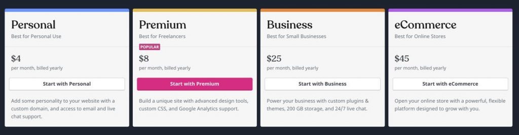 WordPress com pricing