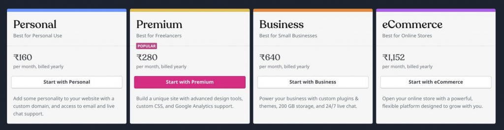 WordPress com pricing India
