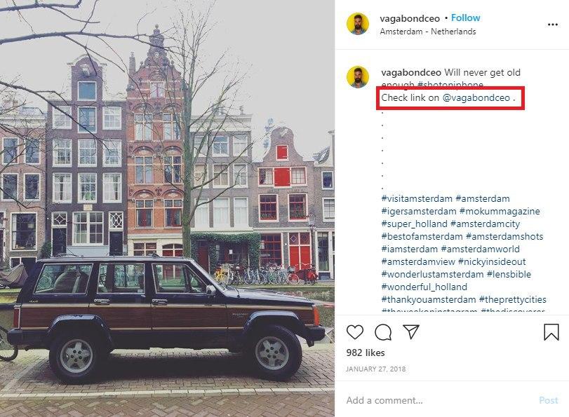 click on instagram bio link