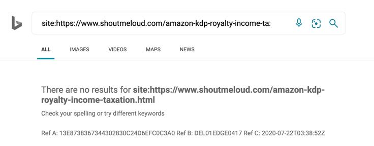 is my URL indexed in Bing