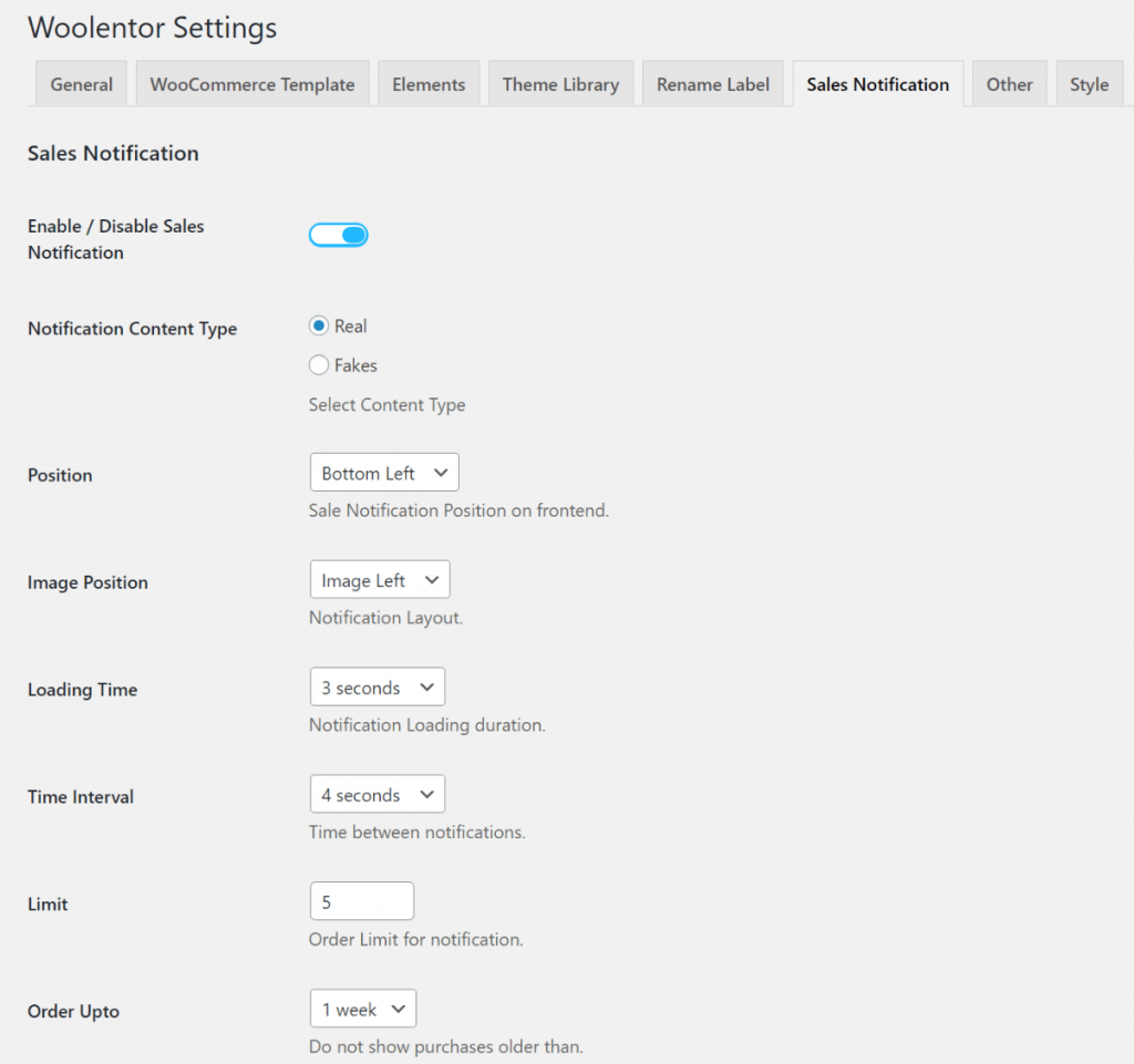 WooLentor review of sales notification settings