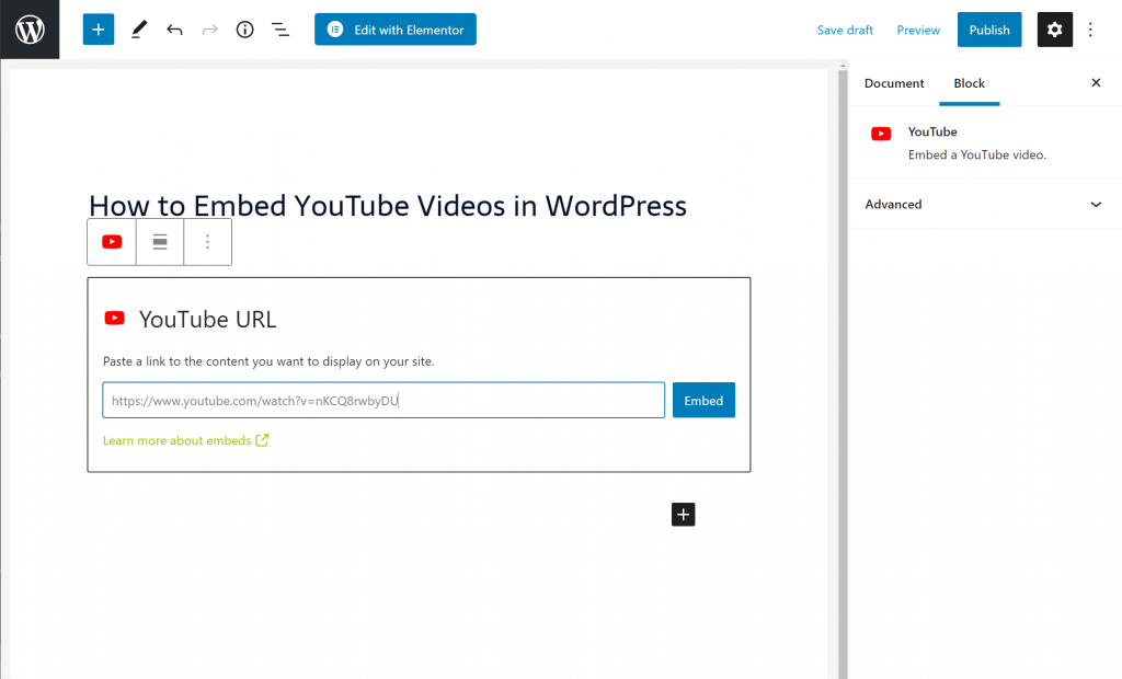 How to embed YouTube in WordPress