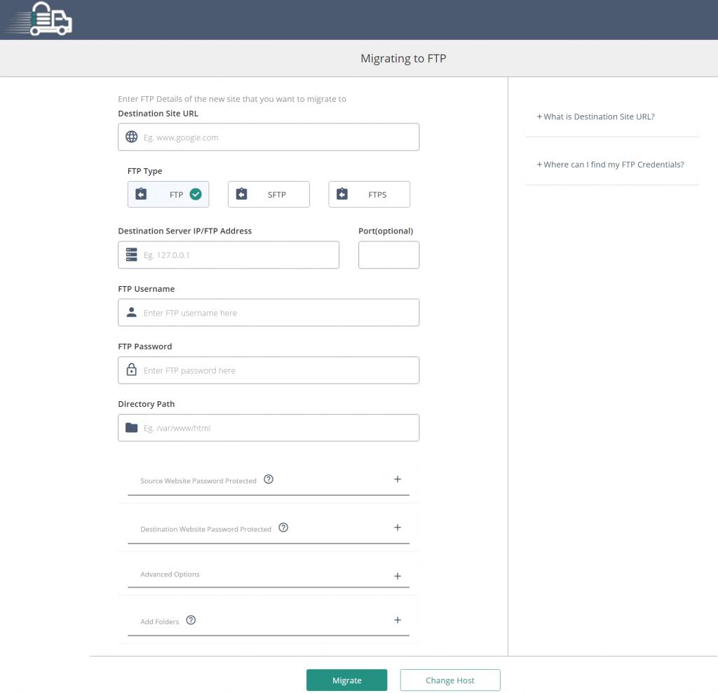 Migrate Guru interface