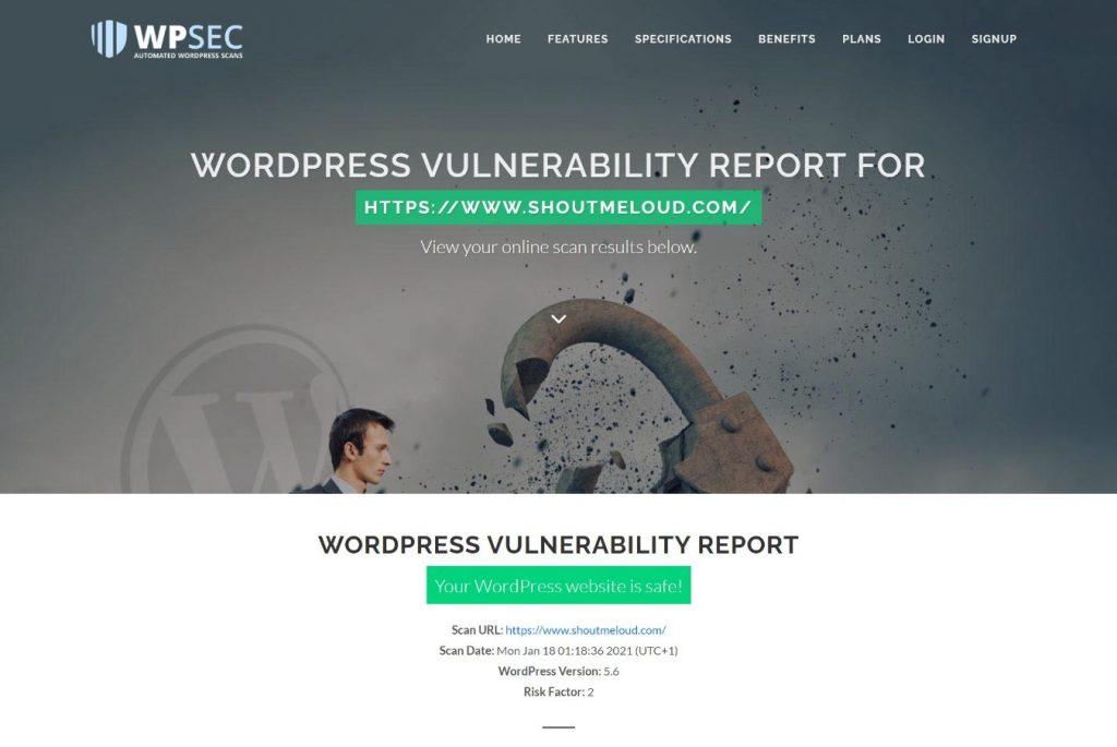 WPScan vulnerability scanner at WPSec